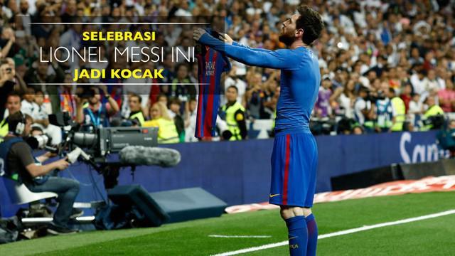 Berita video beragam meme kocak yang terinspirasi dari selebrasi gol Lionel Messi setelah Barcelona menang atas Real Madrid dalam laga bertajuk El Clasico pada Minggu (23/4/2017). Messi membuka kaus dan memperlihatkannya ke arah penonton. Messi seper...
