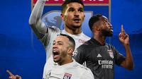Olympique Lyon - Pemain yang bisa gagalkan Bayern Munchen di Liga Champions: Memphis Depay, Houssem Aouar, Moussa Dembele (Bola.com/Adreanus Titus)