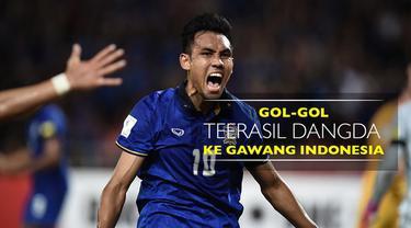 Video gol-gol striker Thailand, Teerasil Dangda, ke gawang Timnas Indonesia di Piala AFF 2016.