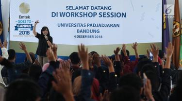 Suasana Workshop Session Emtek Goes to Campus 2018 di Gedung 2 Universitas Padjajdaran, Bandung, Selasa (4/12). Sesi workshop dikuti ratusan peserta dan diisi sejumlah materi termasuk jurnalistik media on line. (Liputan6.com/Helmi Fithriansyah)