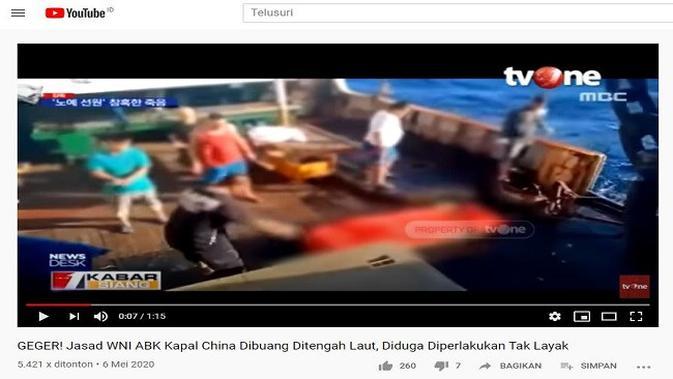 Gambar Tangkapan Layar Video dari Channel YouTube tvOneNews