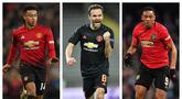Untuk meningkatkan performa Manchester United musim depan, Ole Gunnar Solskjaer diprediksi akan menambah amunisi dengan pembelian beberapa pemain. Harga yang selangit dapat ditutupi dengan penjualan beberapa pemain yang tidak dibutuhkan. Siapa saja mereka? (Kolase Foto AFP)