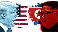 Banner Donald Trump dan Kim Jong-un (Liputan6.com/Triyasni)