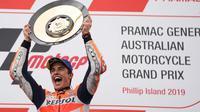Pembalap Repsol Honda, Marc Marquez, mengaku sejak awal balapan sudah yakin bisa meraih kemenangan di MotoGP Australia. (dok. Repsol Honda)
