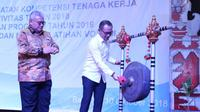 Menteri Ketenagakerjaan M. Hanif Dhakiri saat membuka Rapat Koordinasi Bidang Pelatihan dan Produktivitas di Bali pada Selasa (9/10).