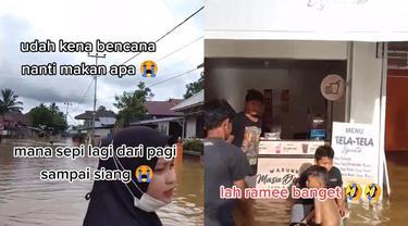 Seorang pebisnis terpaksa buka kafe di tengah banjir.