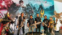 Perwakilan Telkomsel, BEKRAF, Dunia Games, dan 8 Elements di acara peluncuran resmi Rise of Nowlin di Jakarta, Kamis (20/2/2020). (Liputan6. com/ Mochamad Wahyu Hidayat)