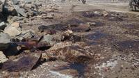 Tumpahan limbah minyak mentah mencemari pesisir pantai utara Karawang. Akibatnya selain warna air laut berubah, bau tak sedap juga tercium di pantai Cemarajaya hingga Sedari, Kecamatan Cibuaya, Karawang. (Liputan6.com/ Abremana)