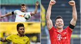 Striker Bayern Munchen, Robert Lewandowski, masih tetap berada di puncak top scorer Bundesliga di pekan ke-28, disusul pemain RB Leipzig, Timo Werner dengan torehan 24 gol. Berikut top scorer sementara Bundesliga 2019/2020. (kolase foto AFP)