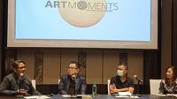 Jumpa pers Art Moment 2020 yang diwakili Fair Director Art Moments 2020 Leo Silitonga, Artistic Director Khai Hori, dan kurator Galeri Lawang Wangi Rizky Jaelani. (Liputan6.com/Dinny Mutiah)