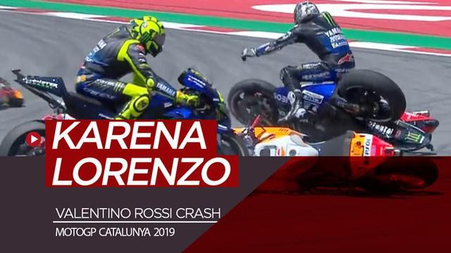 Berita video insiden Valentino Rossi crash dan tak bisa melanjutkan balapan di MotoGP Catalunya karena motor Jorge Lorenzo. Seperti apa insiden tersebut?