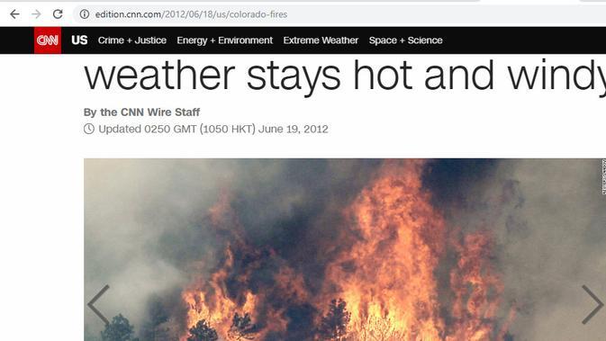 Cek Fakta - artikel kebakaran hutan di CNN