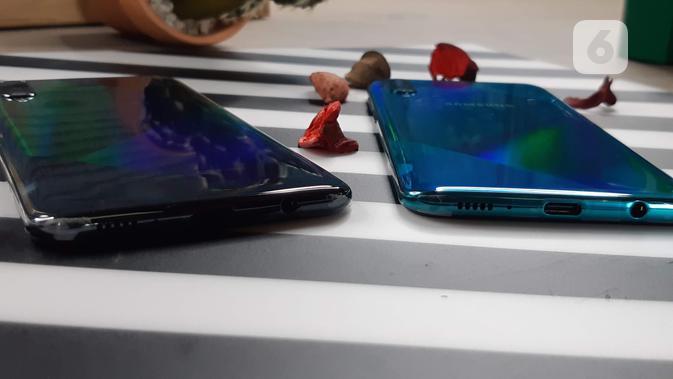 Samsung Galaxy A50s menggunakan konektor USB tipe C(Liputan6.com/ Agustin Setyo W)