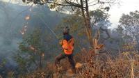 Petugas BPBD Kabupaten Kuningan berupaya melakukan pemadaman secara manual dengan membuat sekat bakar di kawasan Gua Walet Gunung Ciremai. Foto (Istimewa)