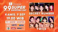 Shopee 9.9 Super Shopping Day TV Show yang akan disiarkan secara langsung pada tanggal 9 September pukul 19.00 WIB hanya di ShopeeLive, RCTI, SCTV, Indosiar, ANTV, dan MNC TV.