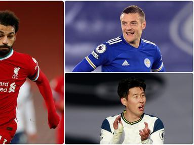 Penyerang Liverpool, Mohamed Salah, masih memuncaki daftar top skor sementara Liga Inggris 2020/2021 hingga pekan ke-17. Pemain asal Mesir ini telah mencetak 13 gol unggul satu gol dari pemain Tottenham, Son Heung-min. Berikut daftar top skor sementara Liga Inggris. (kolase foto AFP)