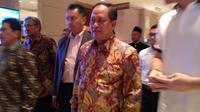 Menristekdikti Mohamad Nasir menghadiri ajang World Post Graduate Expo 2018 di Jakarta. Liputan6.com/Tommy Kurnia