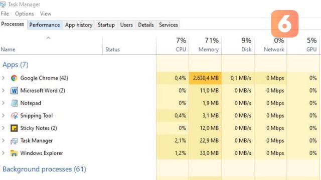 Cara temukan atau deteksi malware lewat Task Manager. Liputan6.com/Iskandar