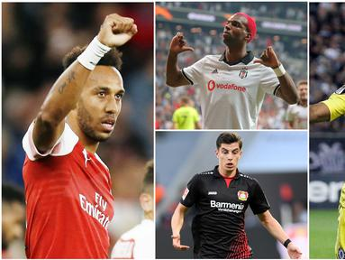 Berikut ini daftar top scorer sementara Liga Europa 2018/2019. Pierre-Emerick Aubameyang, Wissam Ben Yedder dan Ever Banega berada di posisi atas dengan koleksi 2 gol. (Foto-foto Kolase AP dan AFP).