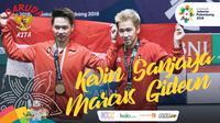 Garuda Kita Asian Games Kevin Sanjaya dan Marcus Gideon (Bola.com/Grafis: Adreanus Titus /Foto: Helmi Fithriansyah)