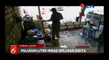 Petugas Gabungan di Kabupaten Tuban terus melakukan razia penertiban warung penjual miras dan karaoke ilegal di Kawasan Pantura.
