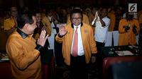 Ketum Partai Hanura, Oesman Sapta Odang saat menghadiri rapat koordinasi DPD Partai Hanura se-Indonesia, Jakarta, Rabu (17/1). Rapat tersebut membahas kesiapan partai menghadapi verifikasi faktual KPU menuju Pemilu 2019. (Liputan6.com/Johan Tallo)