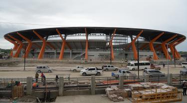 Pandangan umum stadion atletik untuk pesta olahraga negara-negara Asia Tenggara atau SEA Games 2019 di New Clark City, utara Manila pada Jumat (19/7/2019). Ajang dua tahunan SEA Games ke-30 akan dilangsungkan di Manila, Filipina pada 30 November hingga 11 Desember 2019. (TED ALJIBE/AFP)
