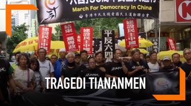 30 tahun sejak terjadinya insiden berdarah di lapangan Tiananmen diperingati ribuan warga Hong Kong. Mereka gelar aksi unjuk rasa, berbondong-bondong  penuhi jalanan pusat kota Hong Kong hari Minggu (27/5).