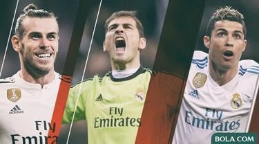 Pemain Real Madrid - Gareth Bale, Iker Casillas, Cristiano Ronaldo