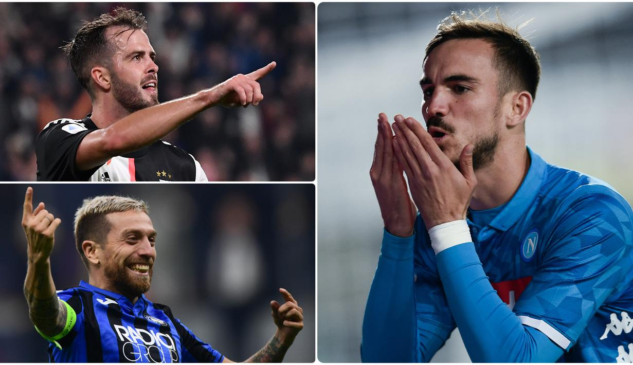 Pemain gelandang memiliki peran penting sebagai penghubung antara lini bertahan dan penyerangan sebuah tim. Tak jarang, banyak peluang diciptakan melalui pergerakan gelandang. Berikut 5 gelandang Andal di Serie A musim ini. (kolase foto AFP)