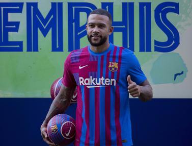 Foto: Resmi Berseragam Barcelona, Memphis Depay Tak Sabar Ingin Bermain dengan Lionel Messi