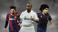 Lionel Messi, Roberto Carlos dan Diego Maradona. (Bola.com/Dody Iryawan)
