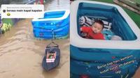 Orang tua hibur anak saat banjir dengan main kapal-kapalan (Sumber: TikTok/riskiaguss)