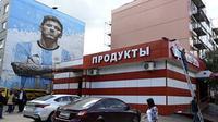 Mural Lionel Messi di Kota Bronnitsy, Rusia menyambut Piala Dunia 2018 (Foto: Twitter)