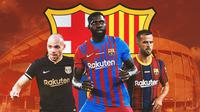 Barcelona - Martin Braithwaite, Samuel Umtiti, Miralem Pjanic (Bola.com/Adreanus Titus)