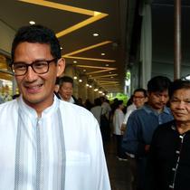 Cawapres Nomor Urut 2 Sandiaga Salahuddin Uno Mengaku mendapat banyak bekal ilmu sebagai seorang pengusaha dari Pendiri Sinar Mas Grup Eka Tjipta Widjaja (Maulandy/Liputan6.com)