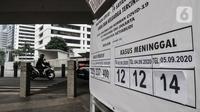Kendaraan melintas dekat Tugu Peti Mati Covid-19 di kawasan Sudirman, Jakarta, Minggu (6/9/2020). Dinas Kesehatan DKI Jakarta menyatakan positivity rate Covid-19 pada sepekan terakhir naik 13,1 persen atau melebihi standar yang ditetapkan WHO yakni lima persen. (merdeka.com/Iqbal S. Nugroho)