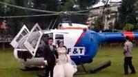 Meski membentuk tim khusus, Kapolda Sumut yakin jika tidak ada komersialisasi aset negara dalam kasus pengantin turun dari helikopter milik polisi itu. (Liputan6.com/Reza Efendi)