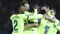 Barcelona menundukkan Manchester United 1-0 pada leg pertama perempat final Liga Champions di Old Trafford, Kamis (11/4/2019). (AP)