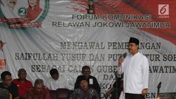 Cagub Jatim Gus Ipul memberikan sambutan politik disaksikan Forum Komunikasi Relawan Jokowi Jawa Timur di Surabaya, Kamis (22/3). Puluhan relawan tersebut mendukung penuh untuk memenangkan Gus Ipul-Mbak Puti Guntur. (Liputan6.com/Pool/Dodi)