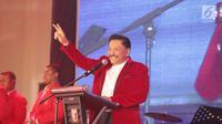 Ketum PKPI, AM Hendropriyono memberi sambutan dalam acara Syukuran PKPI di Cipayung, Jakarta, Jumat (29/12). Ketum PKPI, AM Hendropriyono menuturkan, nantinya capres ini akan mendulang suara dari partai-partai nasionalis. (Liputan6.com/Faizal Fanani)