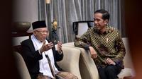 Capres Jokowi Saat Berbincang Santai dengan Cawapres Ma'ruf Amin di Istana Negara, Jakarta. (Foto/Istmewa)