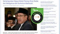 [Cek Fakta] Kemenag Akan Hapus Materi Pelajaran Perang dalam Pelajaran Agama Islam, Benarkah?