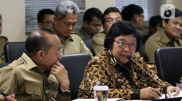 Menteri Lingkungan Hidup dan Kehutanan Siti Nurbaya (kanan) saat rapat kerja dengan Komite II DPD di Kompleks Parlemen, Senayan, Jakarta, Senin (17/2/2020). Rapat tersebut membahas program kerja Kementerian Lingkungan Hidup dan Kehutanan Tahun 2020. (Liputan6.com/Johan Tallo)