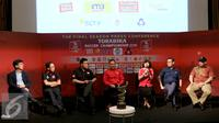 Suasana saat press conference Torabika Soccer Championship di Main Hall SCTV, Jakarta, Rabu (21/12). Torabika Soccer Championship (TSC) 2016 resmi berakhir pada 18 Desember. (Liputan6.com/Gempur M. Surya)