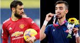 Kabar menghebohkan datang dari Olimpiade Tokyo 2020. Atlet asal Tunisia bernama Mohamed Khalil Jendoubi mencuri perhatian lantaran memiliki wajah mirip dengan bintang Manchester United, Bruno Fernandes. (Foto Kolase AP)