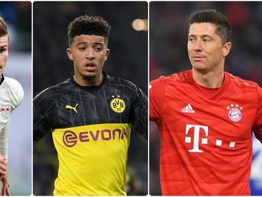Persaingan memperebutkan gelar pencetak gol terbanyak atau top skor di kompetisi Bundesliga sangat ketat. Berikut daftar top skor sementara kompetisi Bundesliga 2019/2020. (kolase foto AFP)