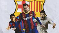 Barcelona - Juan Roman Riquelme, Lionel Messi, Javier Saviola (Bola.com/Adreanus Titus)
