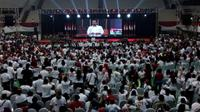 Joko Widodo, calon presiden nomor urut 01 dalam kampanye terbuka di Gor Ken Arok Malang, Senin, 25 Maret 2019 (Liputan6.com/Zainul Arifin)