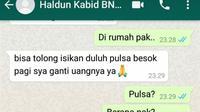 WA milik Plh Kabid Pemberantasan di BNN Riau AKBP Haldun yang diretas dan meminta pulsa. (Liputan6.com/M Syukur)